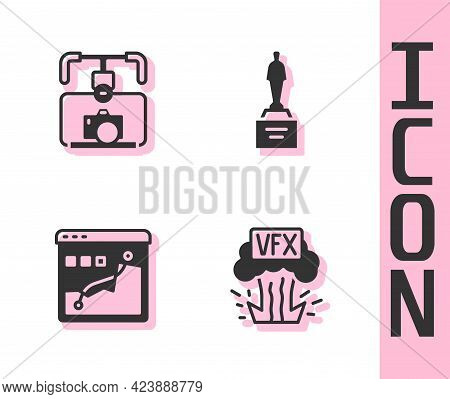 Set Vfx, Gimbal Stabilizer With Camera, Histogram Graph Photography And Movie Trophy Icon. Vector