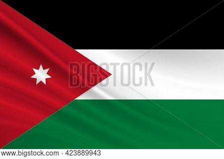 Flag Of Jordan Fabric Texture Of The Flag Of Jordan.