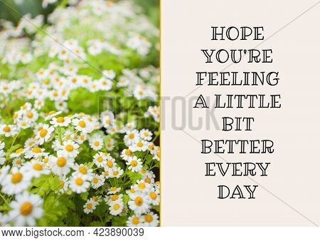 Composition of well wishes text with flowers. get well wishes and communication concept digitally generated image.