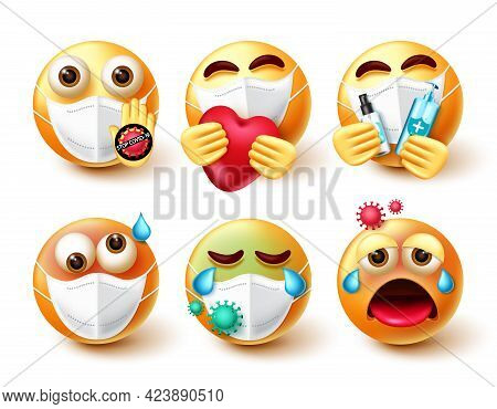 Covid-19 Emoticon Vector Set. Emojis 3d Character In Care, Sick And Infected Emotions With Face Mask