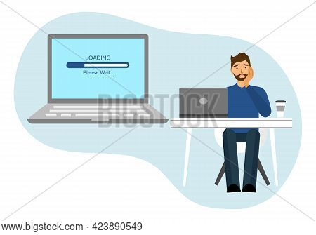 A Man Is Waiting For Downloading Program In Laptop Computer In Flat Design. Slow Internet Speed.