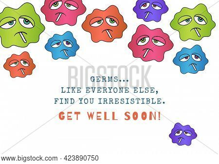 Composition of well wishes text with sick emojis with thermometers. get well wishes and communication concept digitally generated image.