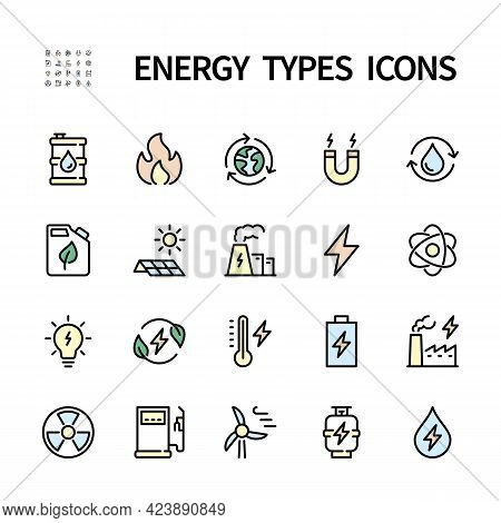 Types Of Energy Vector Icons. Color Symbols Of Ecology. Isolated Icon Collection On White Background