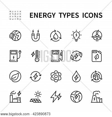 Energy Types Vector Line Icons. Isolated Icon Collection Of Energy Types For Web Sites On White Back