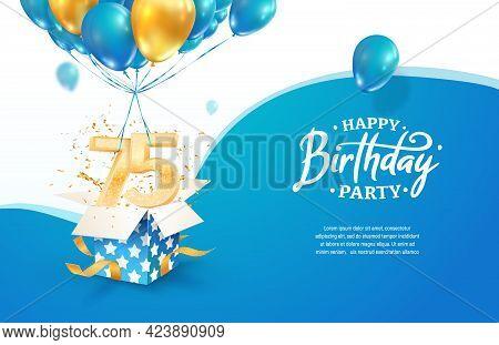 Celebrating 75th Years Birthday Vector Illustration. Seventy Five Anniversary Celebration. Adult Bir