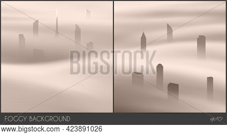 City Skyscrapers. Foggy Clouds. Abstract Fog Waves. Urban Landscape