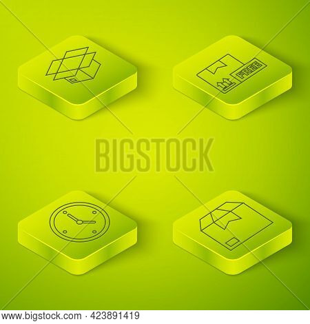 Set Isometric Cardboard Box With Free Symbol, Fast Time Delivery, Carton Cardboard Box And Carton Ca