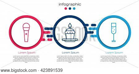Set Line Karaoke Microphone, Cake With Burning Candles And Glass Of Champagne. Business Infographic