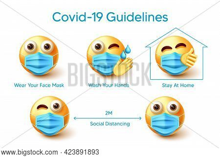 Emoji Covid-19 Guidelines Vector Design. Covid-19 Guidelines Text With Emoticon 3d Characters Wearin