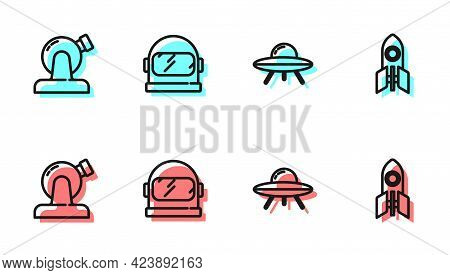 Set Line Ufo Flying Spaceship, Astronomical Observatory, Astronaut Helmet And Rocket Icon. Vector