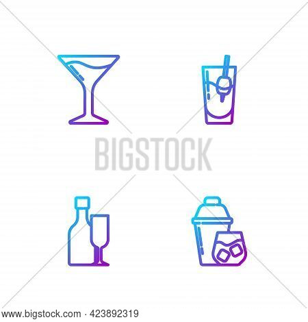 Set Line Cocktail Shaker, Wine Bottle With Glass, Martini And Bloody Mary. Gradient Color Icons. Vec