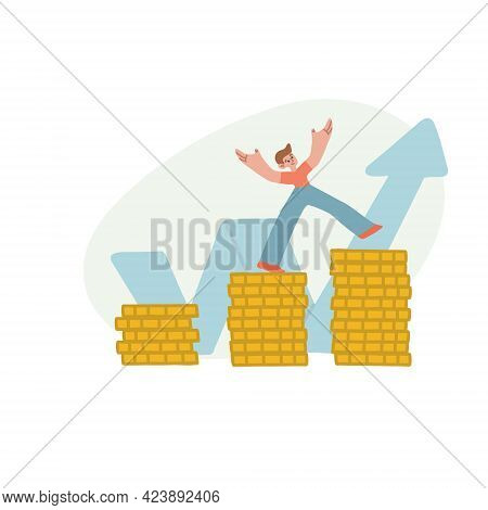 Financial Literacy. The Boy Succeeds In Saving Money. Disposal Of Pocket Money. Vector Isolated Illu