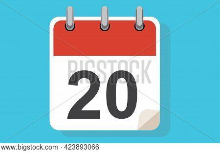 Day Twenty. Simple Calendar With Date 20. Flat Calendar Icon Vector Illustration. Calendar Icon Flat