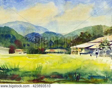 Abstract Colorful Paintings Watercolor Landscape Original Of Home In Mountain, Cornfield And Meadow