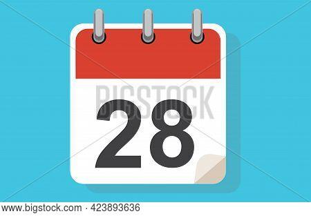 Day Twenty-eight. Simple Calendar With Date 28. Flat Calendar Icon Vector Illustration. Calendar Ico