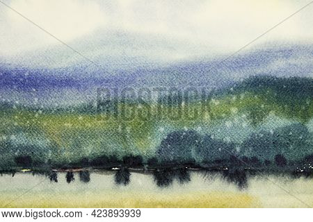 Watercolor Painting Yellow Blue Green Brush, Splash Stroke Stain Drop. Abstract Art Illustration On