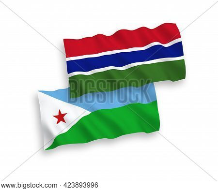 National Fabric Wave Flags Of Republic Of Djibouti And Republic Of Gambia Isolated On White Backgrou