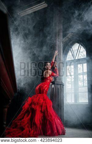 Woman Vintage Red Dress Old Castle Beautiful Princess In Seductive Dress Elegant Caucasian Female Fa