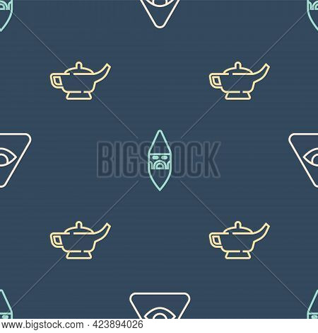 Set Line Masons, Magic Lamp Or Aladdin And Wizard Warlock On Seamless Pattern. Vector