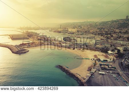 Scenic Daytime View Of Haifa Bay. Aerial Panoramic View Of Azure Water Of The Mediterranean Sea And
