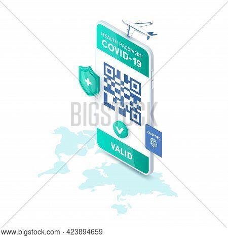 Health Passport Valid Qr Code On Smartphone Screen Vector Isometric Concept. 3d Electronic Covid-19