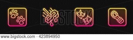 Set Line Seagull Paw Footprint, Paw, Mop And Human Footprints Shoes. Glowing Neon Icon. Vector