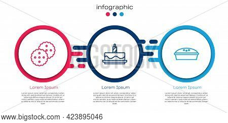 Set Line Cookie Or Biscuit, Cake With Burning Candles And Homemade Pie. Business Infographic Templat
