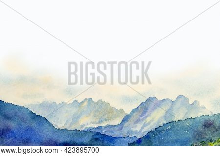 Watercolor Painting Landscape In The Austrian Alps That Is Surrounded By A Very Beautiful Of Mountai