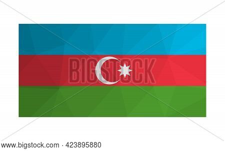 Vector Illustration. National Tricolour Flag With Band Of Blue, Red, Green And White Crescent And Ei