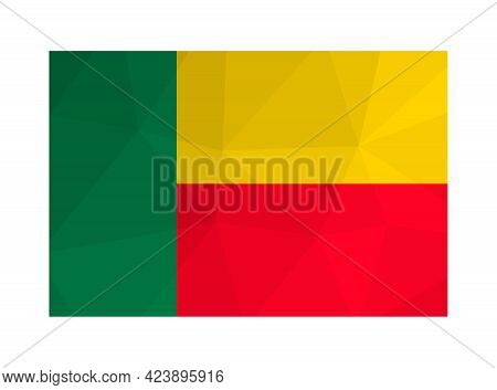 Vector Isolated Illustration. National Flag With Green, Yellow And Red Colors. Official Symbol Of Be