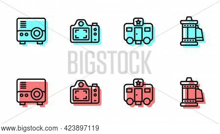 Set Line Actor Trailer, Media Projector, Photo Camera And Camera Roll Cartridge Icon. Vector