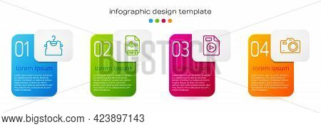 Set Line Sleeveless T-shirt, Mp3 File Document, Avi And Photo Camera. Business Infographic Template.