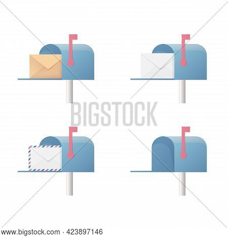 Mailbox Set. Flat Vector Illustration. Four Email Boxes. Isolated On White Background.