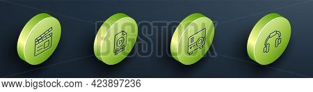 Set Isometric Line Movie Clapper, Mp4 File Document, Media Projector And Headphones Icon. Vector