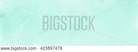 Mint Green Gradient Watercolor Background. Hand Drawn Aquarelle Texture. Light Green Background