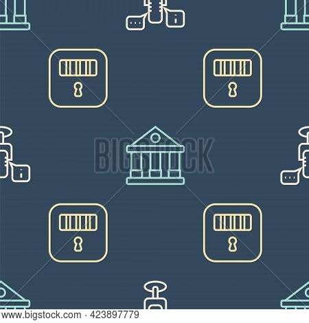 Set Line Freedom Of Speech, Prison Cell Door And Courthouse Building On Seamless Pattern. Vector