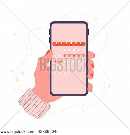 Menstrual Cycle. Phone In Hand With A Calendar. Period. Phone App, Ovulation Tracking. Vector Stock