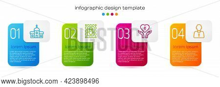 Set Line Church Building, Christian Icon, Religious Cross Heart And Priest. Business Infographic Tem