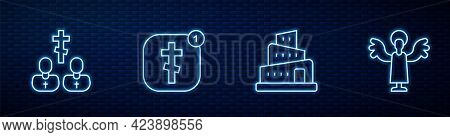 Set Line Babel Tower Bible Story, Priest, Online Church Pastor Preaching And Angel. Glowing Neon Ico