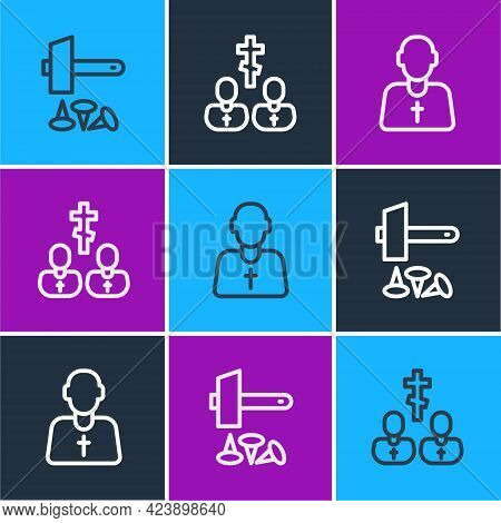 Set Line Crucifixion Of Jesus Christ, Priest And Icon. Vector