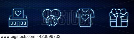 Set Line Clothes Donation, Volunteer Center, The Heart World - Love And Gift Box. Glowing Neon Icon