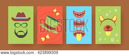 Set Of Contemporary Art Posters With Party Accessories. Vector Illustration. .colorful Collection Of