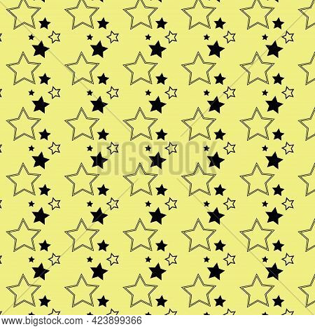Seamless Yellow Background From Black Stars In Rows