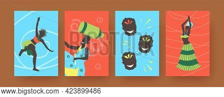 Set Of Contemporary Art Posters With African Folk Dancers. Vector Illustration. .colorful Collection