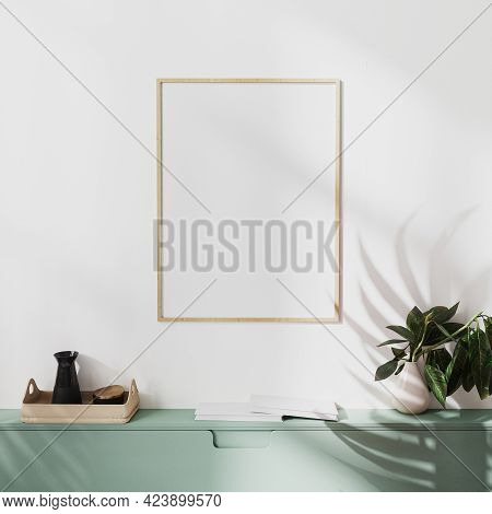 Mock Up Wooden Poster Frame On White Wall With Palm Shadow And Green Cabinets With Decoration, 3d Il