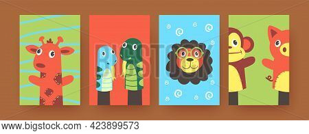 Set Of Contemporary Art Posters With Cute Hand Sock Animals. Vector Illustration. .colorful Hand Soc