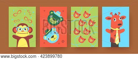 Set Of Contemporary Art Posters With Soft Hand Sock Toys. Vector Illustration. .bright Hand Sock Toy