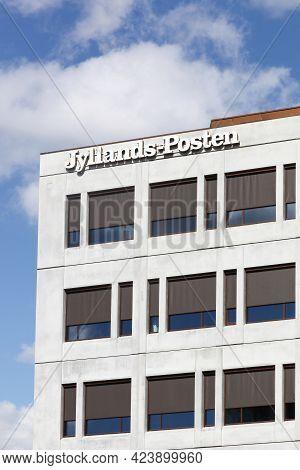 Aarhus, Denmark - April 24, 2021: Jyllands Posten Building In Aarhus. Jyllands Posten Commonly Short