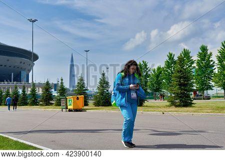 Saint Petersburg, Russia - June 12, 2021: Elderly Volunteer Of The Euro 2020 Championship Nearzenit