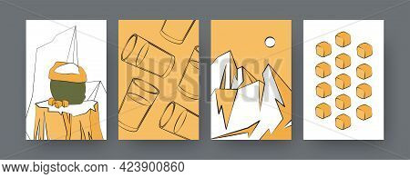 Set Of Contemporary Art Posters With Sugar Cane Cubes And Juice. Sack Of Sugarcane, Glasses Cartoon